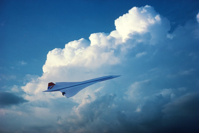 A supersonic plane in flight.