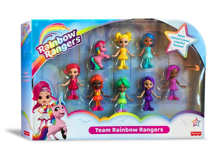 A box of Rainbow Rangers toys.