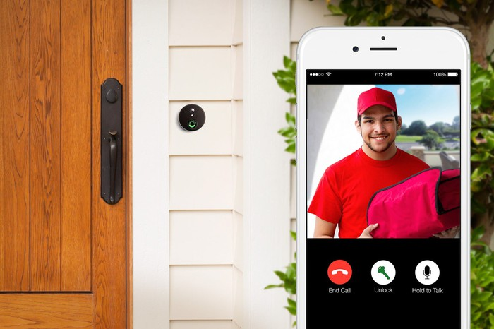 Using Alarm.com's video doorbell and app to see a delivery driver