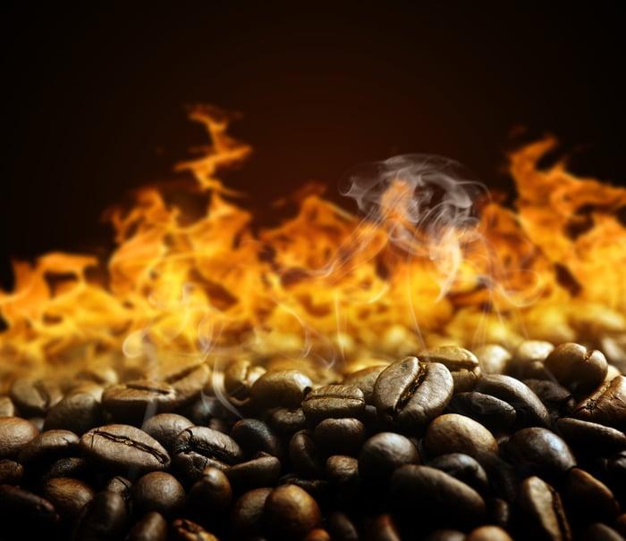 Coffee beans roasting.
