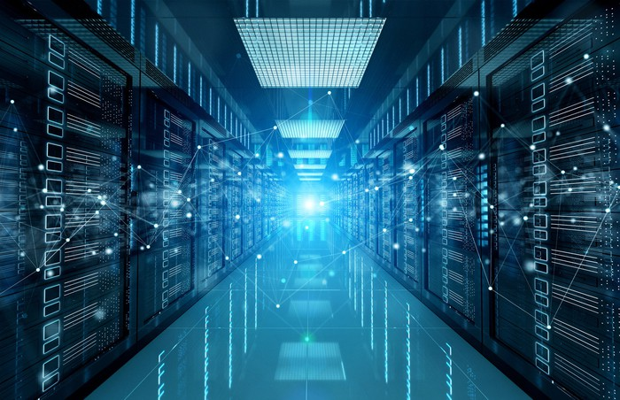Banks of servers in a cloud data center.