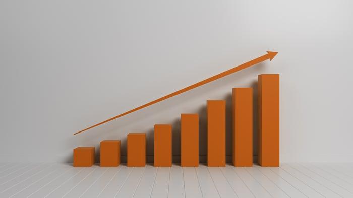 An orange ascending bar chart.