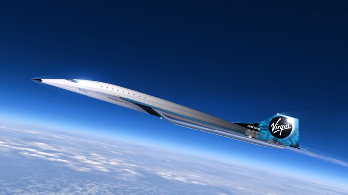 Mach 3 concept aircraft by Virgin Galactic shown with Earth below it while in flight