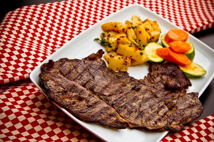 A restaurant steak.