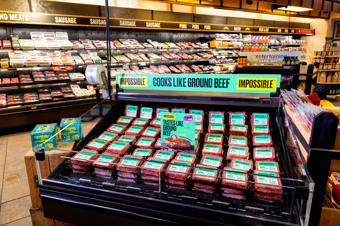 An Impossible Burger display.