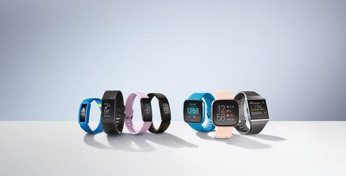Fitbit product portfolio, showing four fitness trackers and three smartwatches