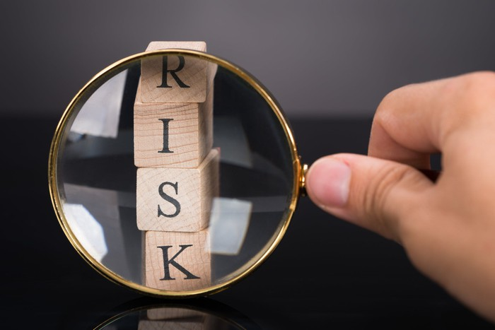 A person is looking at wooden blocks spelling the word risk with a magnifying glass.