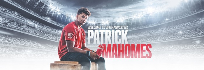BioSteel Patrick Mahomes endorsement photo.