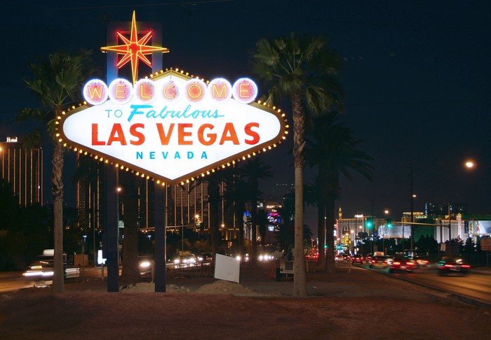A lighted sign reads Fabulous Las Vegas Nevada.