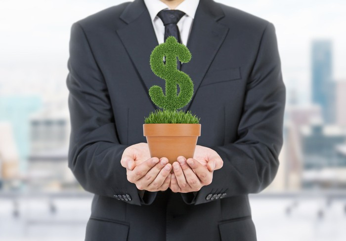 A businessman in a suit holding up a potted plant in the shape of a dollar sign.