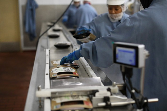 Beyond Meat's products are packaged on an assembly line at a facility.