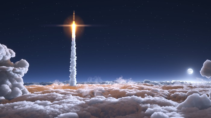 Rocket blasting into space above a cloud layer with moon visible in sky