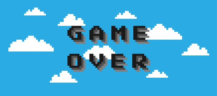 GAME OVER on an 8-bit videogame background of blue sky and clouds.
