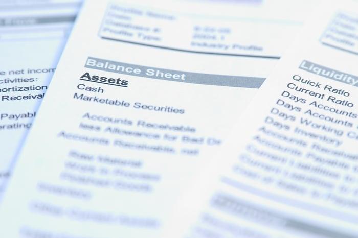 載有資產負債表和流動資金數據的財務報表
