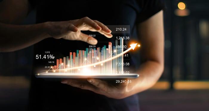 一個人拿著發光的平板電腦,上面是顯示增長趨勢的財務圖表