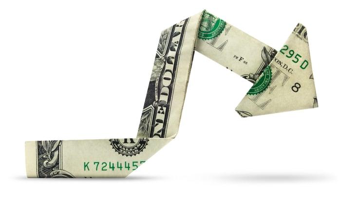 A dollar bill folded origami-style into an arrow pointing downward.
