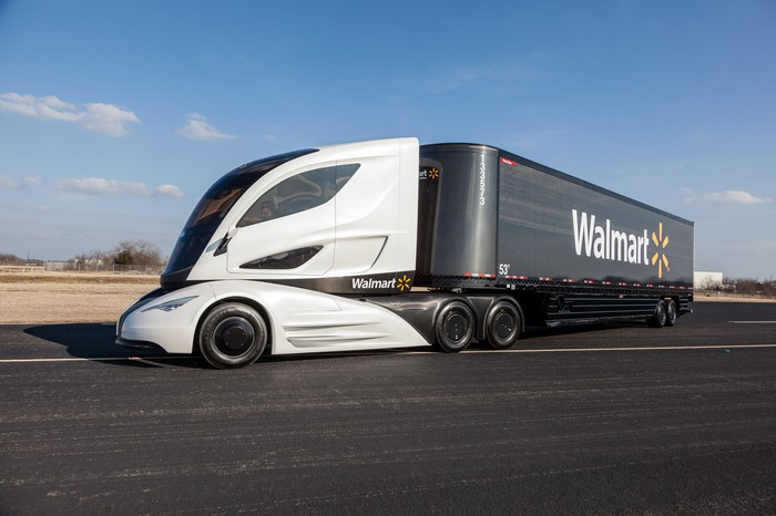 A Walmart delivery truck.