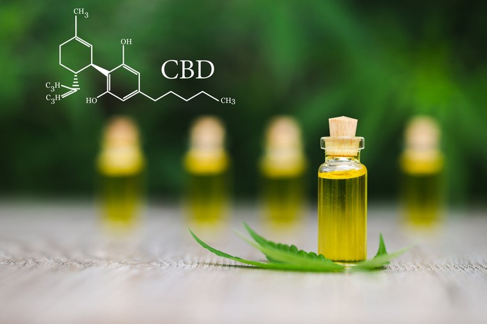 Cannabis oil vial with leaf and drawing of cannabis molecule