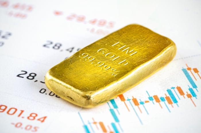 A gold bar lies on a financial chart.