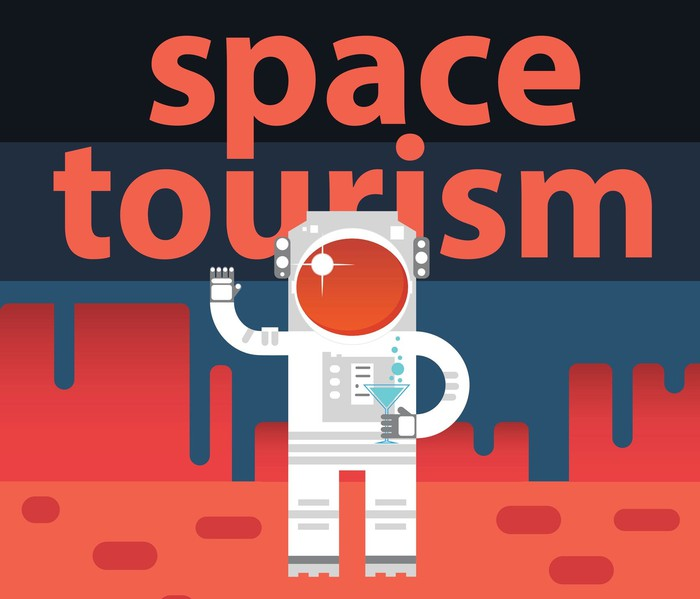 Cartoon astronaut holding a martini under the words space tourism