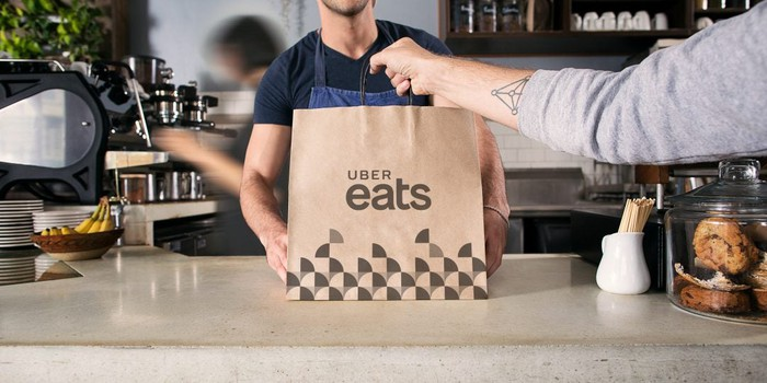 An Uber Eats bag on a counter