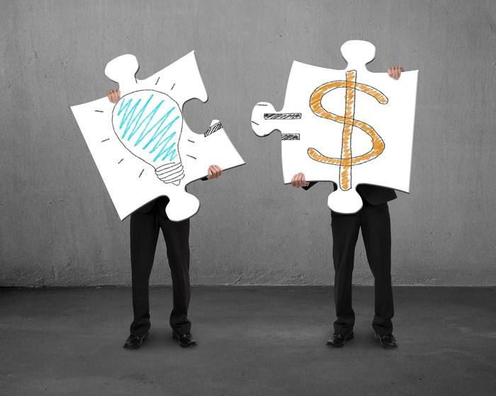 People holding two large jigsaw puzzle pieces, one with a light bulb drawn on it and the other with an equal sign and dollar sign drawn on it