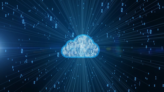 Cloud Computing: A cloud icon against a blue background with animations shooting out from it on rays of light.