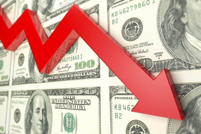 A red arrow trending downward in front of a background of hundred-dollar bills