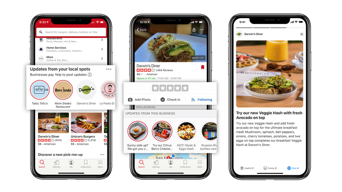 Three smartphones displaying Yelp's app interface