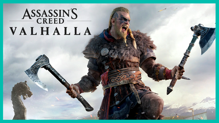 Assassin's Creed Valhalla cover art with Viking warrior.