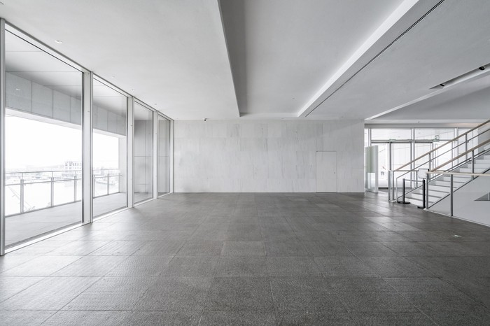 An open space with tile flooring