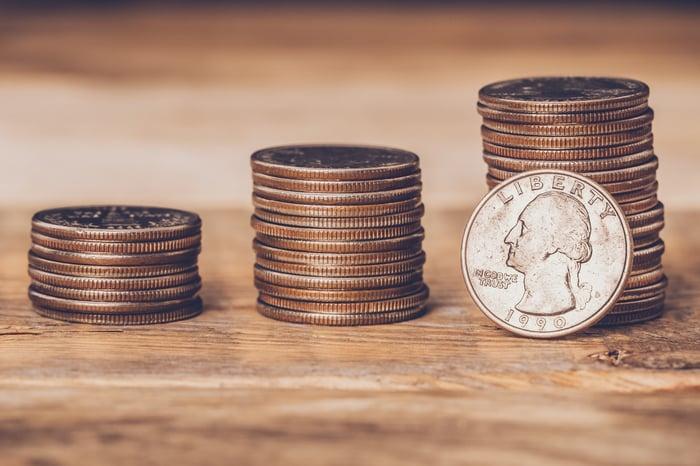 Stacks of quarters.