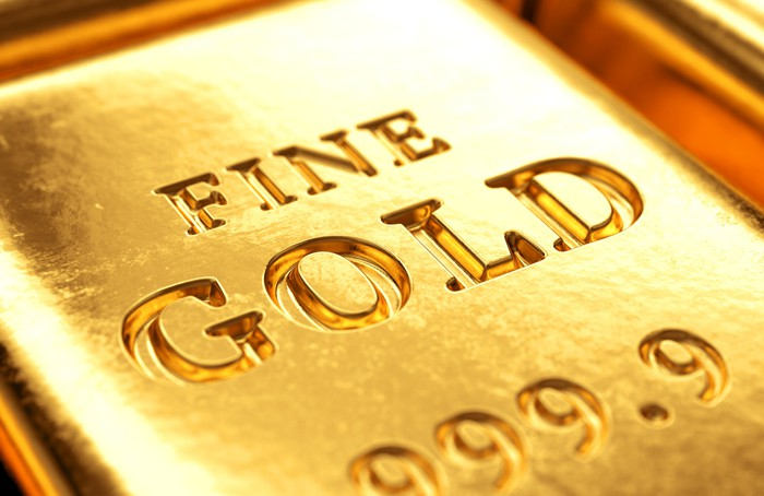 An up-close view of a pure gold bar.