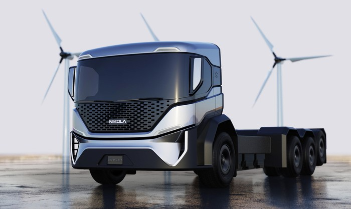 """A Nikola Tre """"chassis cab,"""" a battery-electric heavy truck."""