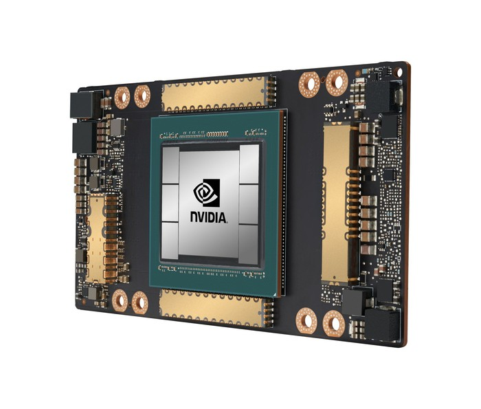 A computer chip with the NVIDIA logo.