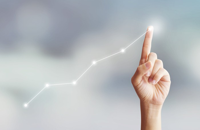 A finger traces an upward-trending line, suggestive of a rising stock chart.