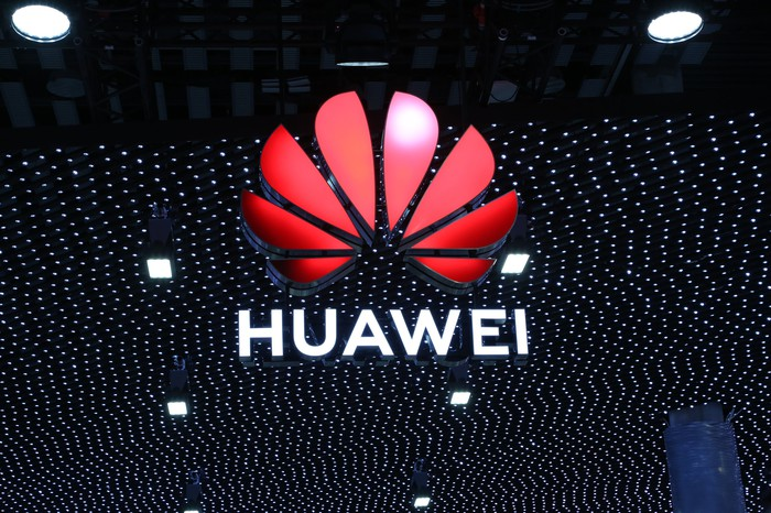 Illuminated sign Huawei at Mobile World Congress 2019