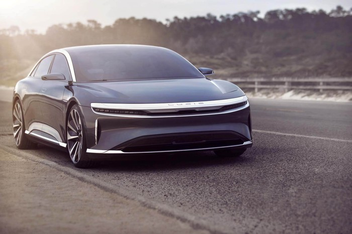 A front view of the Lucid Air sedan