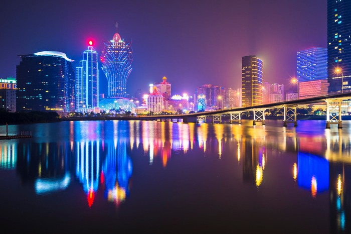 Macao's skyline at night from the water.
