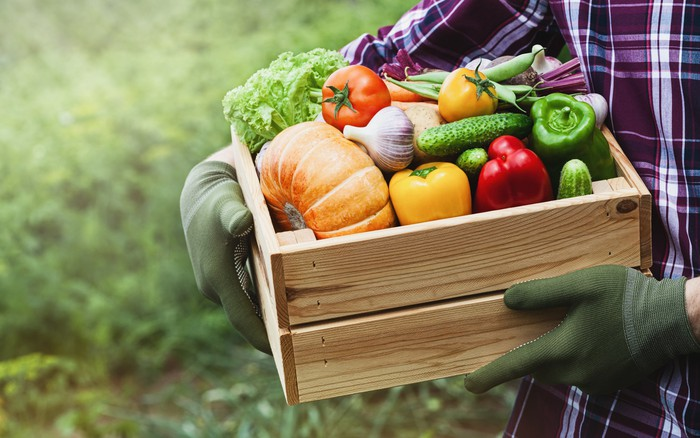 A person wearing gloves and holding a wooden crate of vegetables.