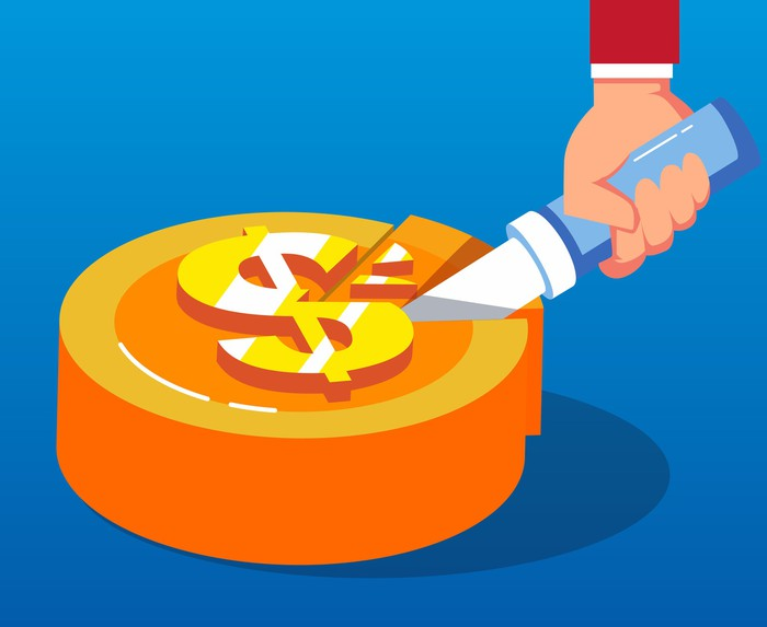 Cartoon of a hand and knife cutting into a cake with a dollar sign