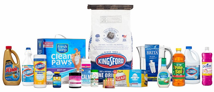 Clorox packages including brands Glad, Kingsford, and the name brand cleaning products