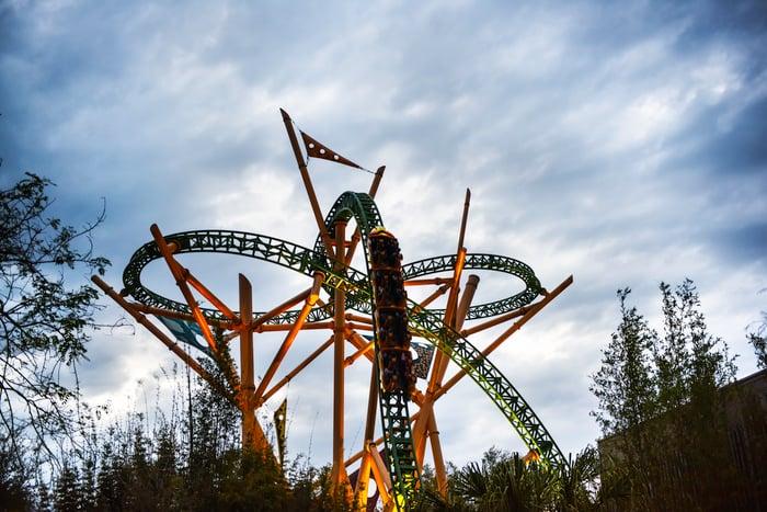 A roller coaster at a theme park.