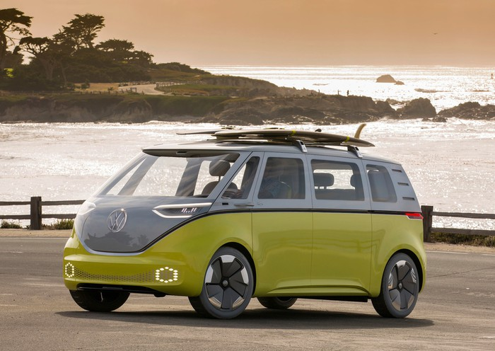 The VW I.D. Buzz, an electric minivan with styling inspired by the 1960s VW Microbus.
