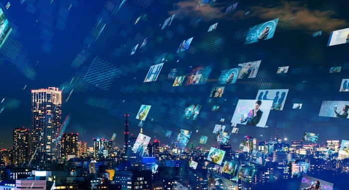 Dozens of digital images across a night sky.