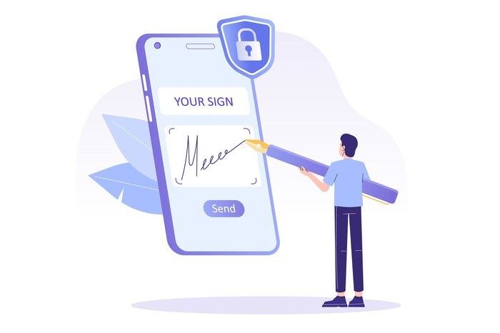A cartoon of a man using a stylus to sign his signature on a giant smartphone