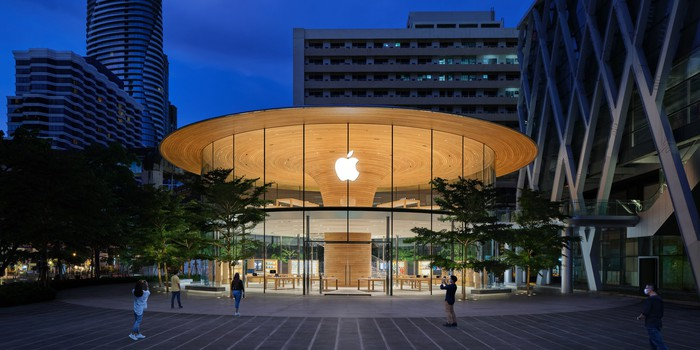 Exterior of Apple Store in Bangkok, Thailand at night
