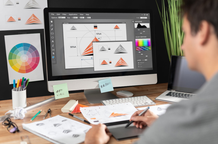A graphic designer uses generic software