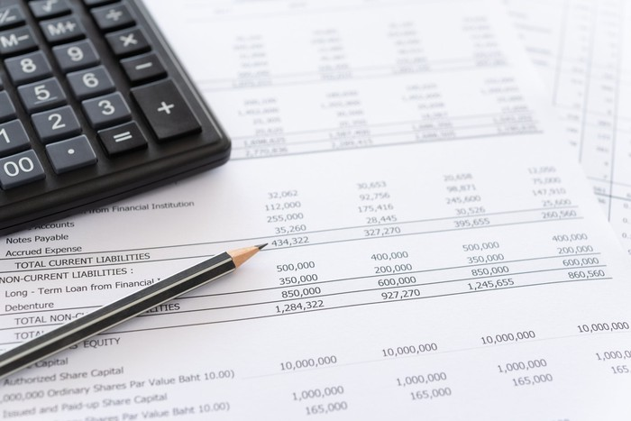 Pencil and calculator on a paper financial report.