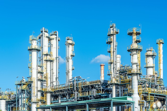 A chemical refining plant.
